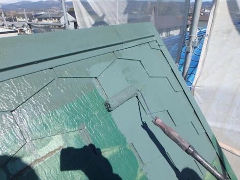 清水町屋根塗装施工中